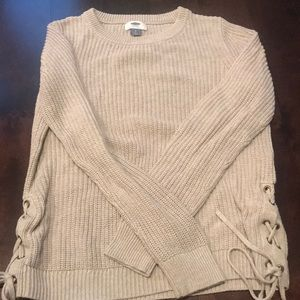 Taupe sweater with side detail